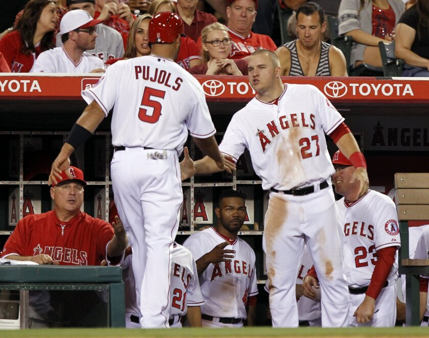 Los Angeles Angels' Mike Trout (27) and the bench congratulates Albert Pujols (5), who scored on a single by Eric Aybar in the sixth inning of a baseball game against the Cleveland Indians on Tuesday, April 29, 2014, in Anaheim, Calif. (AP Photo/Alex Gallardo)