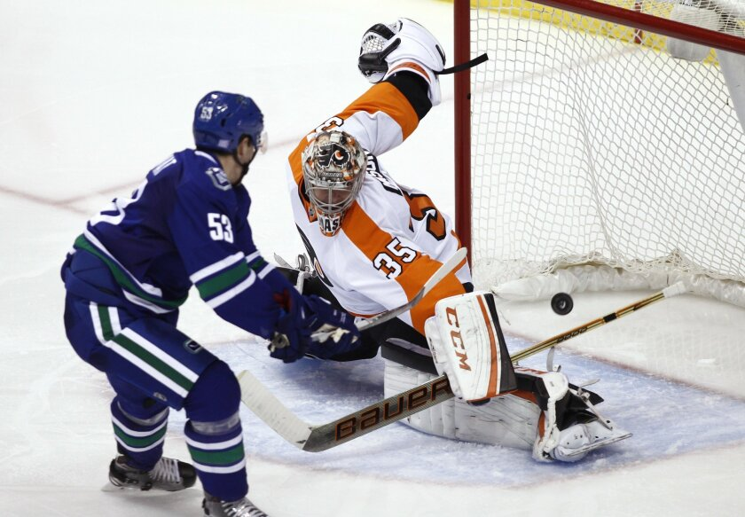 Vancouver Canucks' Bo Horvat (53) is stopped by Philadelphia Flyers goaltender Steve Mason during the second period of an NHL hockey game in Vancouver, British Columbia, Monday, Nov. 2, 2015. (Ben Nelms/The Canadian Press via AP) MANDATORY CREDIT
