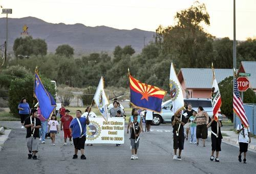 Fort Mojave Indian Tribe Band marches down the street of a reservation village outside Needles during a rehersal – a scene that has been a tradition here on the California-Arizona border for 100 years.