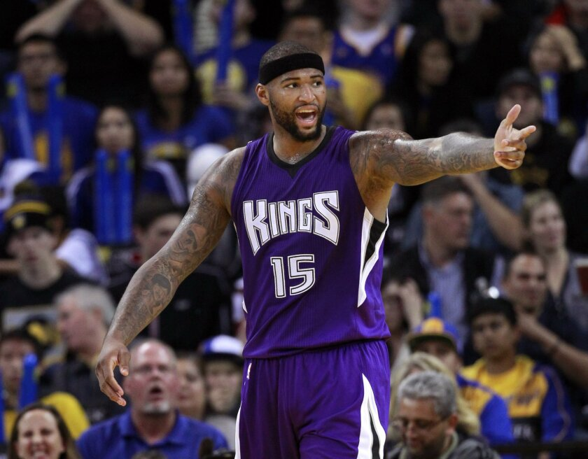 Sacramento's DeMarcus Cousins argues a call during a game against Golden State on Dec. 22.