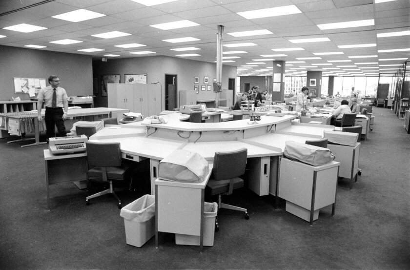 The circa 1974 San Diego Union City Room in the new Union-Tribune building in Mission Valley.