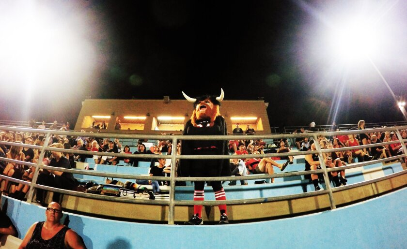 La Jolla High's Viking mascot warms up the crowd during the Sept. 11 football game against Fallbrook High, played at University City High School.
