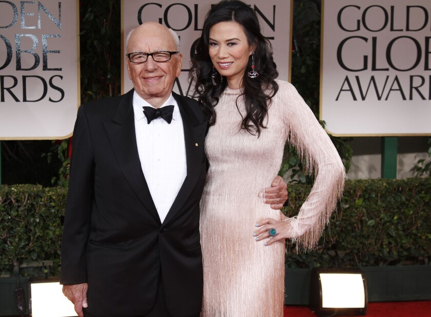 Rupert Murdoch is waiting for the state to grant him a liquor license so he can complete his purchase of Moraga Vineyards. Above, Murdoch and wife Wendi Deng Murdoch at the 2012 Golden Globe Awards show.