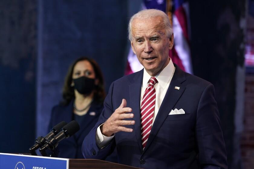 President-elect Joe Biden, accompanied by Vice President-elect Kamala Harris