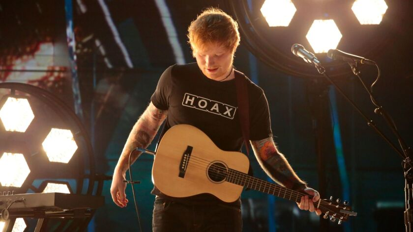 Ed Sheeran performs during last month's Grammy Awards.