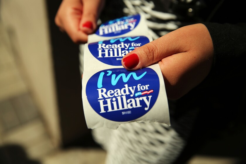 Stickers were handed out to supporters of Hillary Rodham Clinton's 2016 presidential campaign at a rally in Manhattan on April 11.