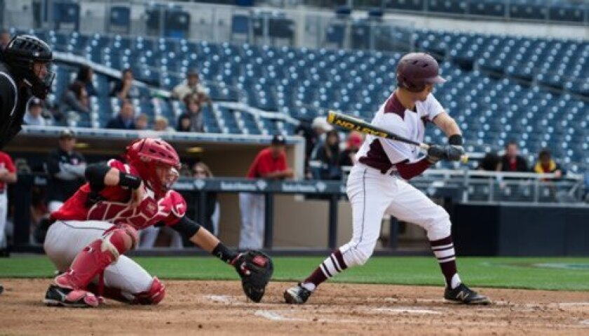 Jamie Abrams of The Bishop's School checks his swing in league opener at Petco Park versus Santa Fe Christian. No Bishop's batter was able to hit safely in Chase Bushor's no-hitter.
