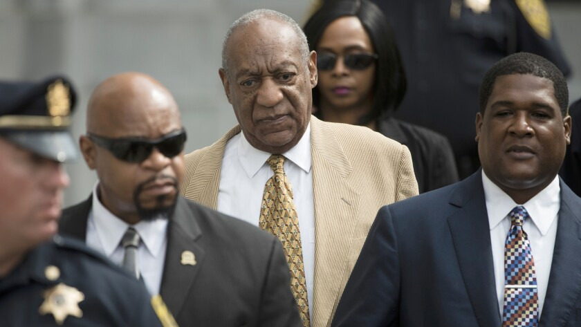 Entertainer Bill Cosby leaves a pretrial hearing in his criminal sex-assault case at Montgomery County Courthouse in Norristown, Pa., in July. A judge denied Cosby's effort to compel the accuser in his case to testify before trial.