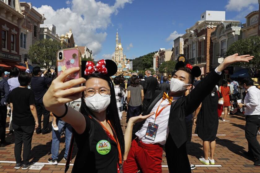 Visitors at Hong Kong Disneyland in June 2020