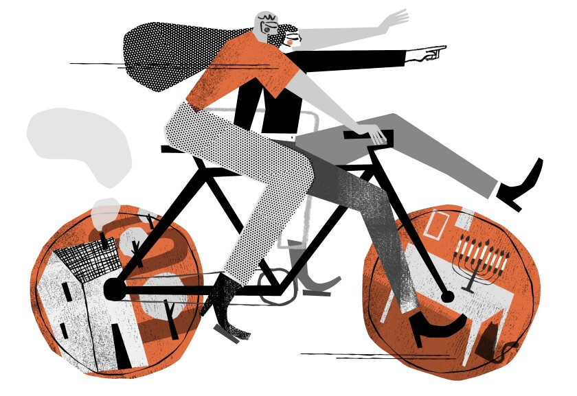 Collage illustration of a man and a woman on a bicycle