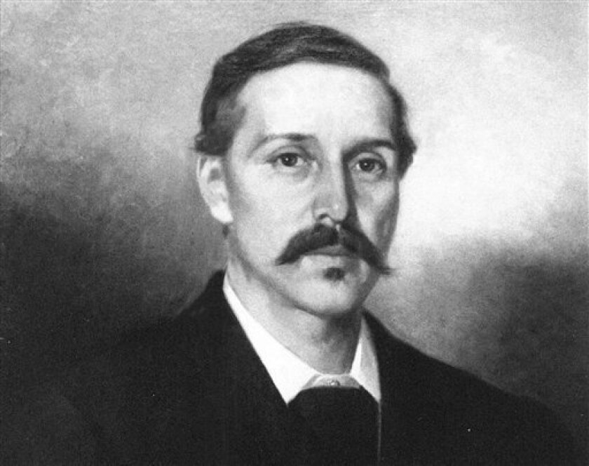 """FILE - This undated photo showing an oil painting released by the Silverado Museum collection shows Scottish novelist, poet, and essayist Robert Louis Stevenson, painted by French artist Ernest Narjot. Stevenson is the author of """"Treasure Island"""" and """"Dr. Jekyll and Mr. Hyde,"""" some of the most thrilling stories in literary history. But he was often bored by the fiction of his day. Stevenson's criticisms appear in a brief, long-lost essay published this month in The Strand Magazine, a quarterly"""