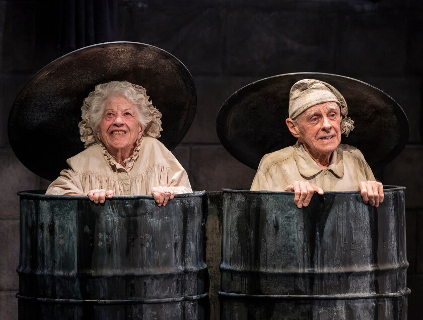 Nell (Charlotte Rae) and Nagg (James Greene) lend humor to the proceedings