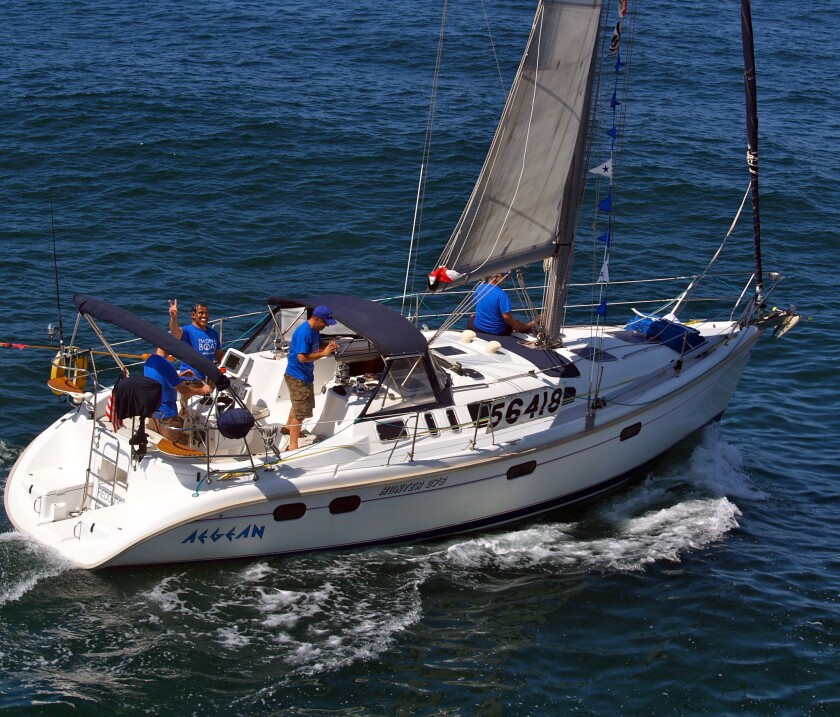 Taken the day of the race, this photo shows the Aegean heading off on the 125-mile Newport Beach-to-Ensenada yacht competition.