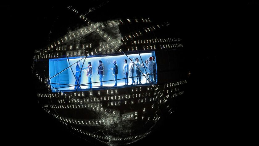"""The Los Angeles Philharmonic production of Meredith Monk's """"Atlas,"""" directed by Yuval Sharon and with production design by Es Devlin."""