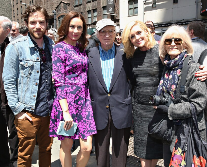 "Sheldon Harnick is surrounded by, from left, ""Fiddler on the Roof"" cast member Ben Rappaport and ""She Loves Me"" cast members Laura Benanti and Jane Krakowski, along with Harnick's wife, Margery Gray Harnick, at an event celebrating the lyricist last month."