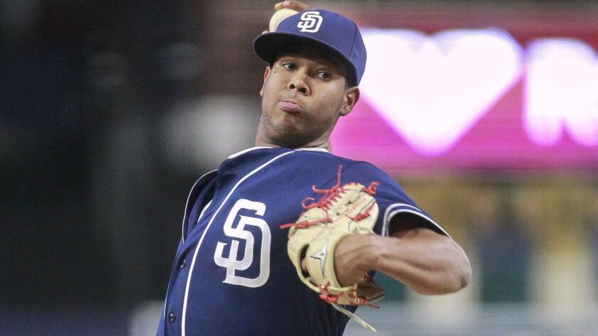 SAN DIEGO , October 7, 2016   Padres prospect Anderson Espinoza pitches to the Texas Rangers prospec