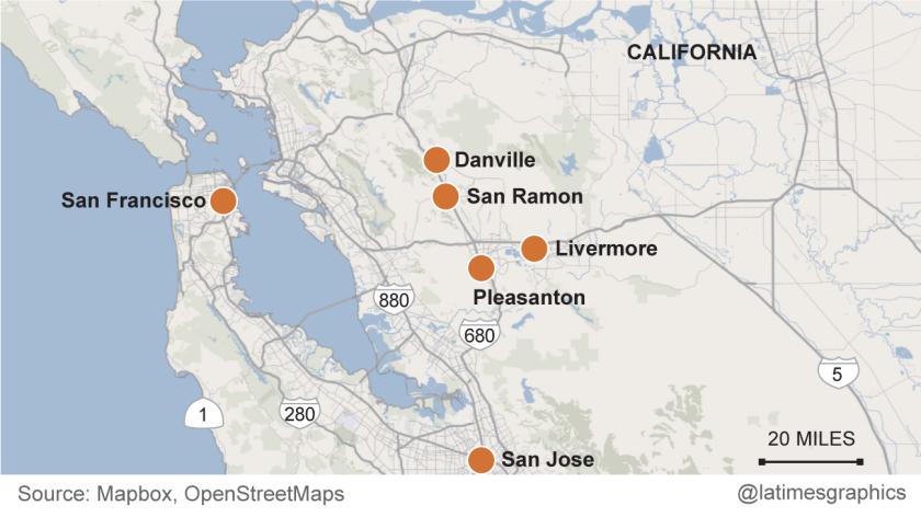San Francisco, San Jose, Pleasanton, Livermore, Danville and San Ramon