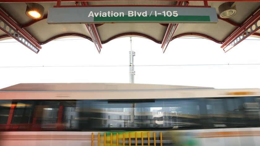 A Green Line train leaves Aviation/LAX, one of six Metro stations that will be closed from Friday night until Jan. 20.