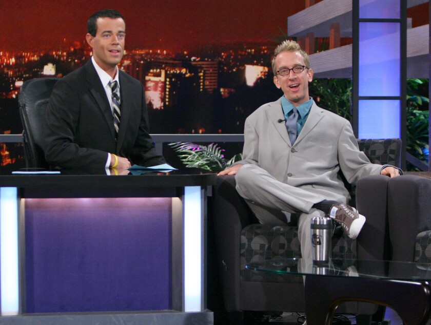 """Andy Dick, right, on """"Last Call with Carson Daly"""" in 2007. Dick was arrested on suspicion of grand theft Friday night in Hollywood, police say."""