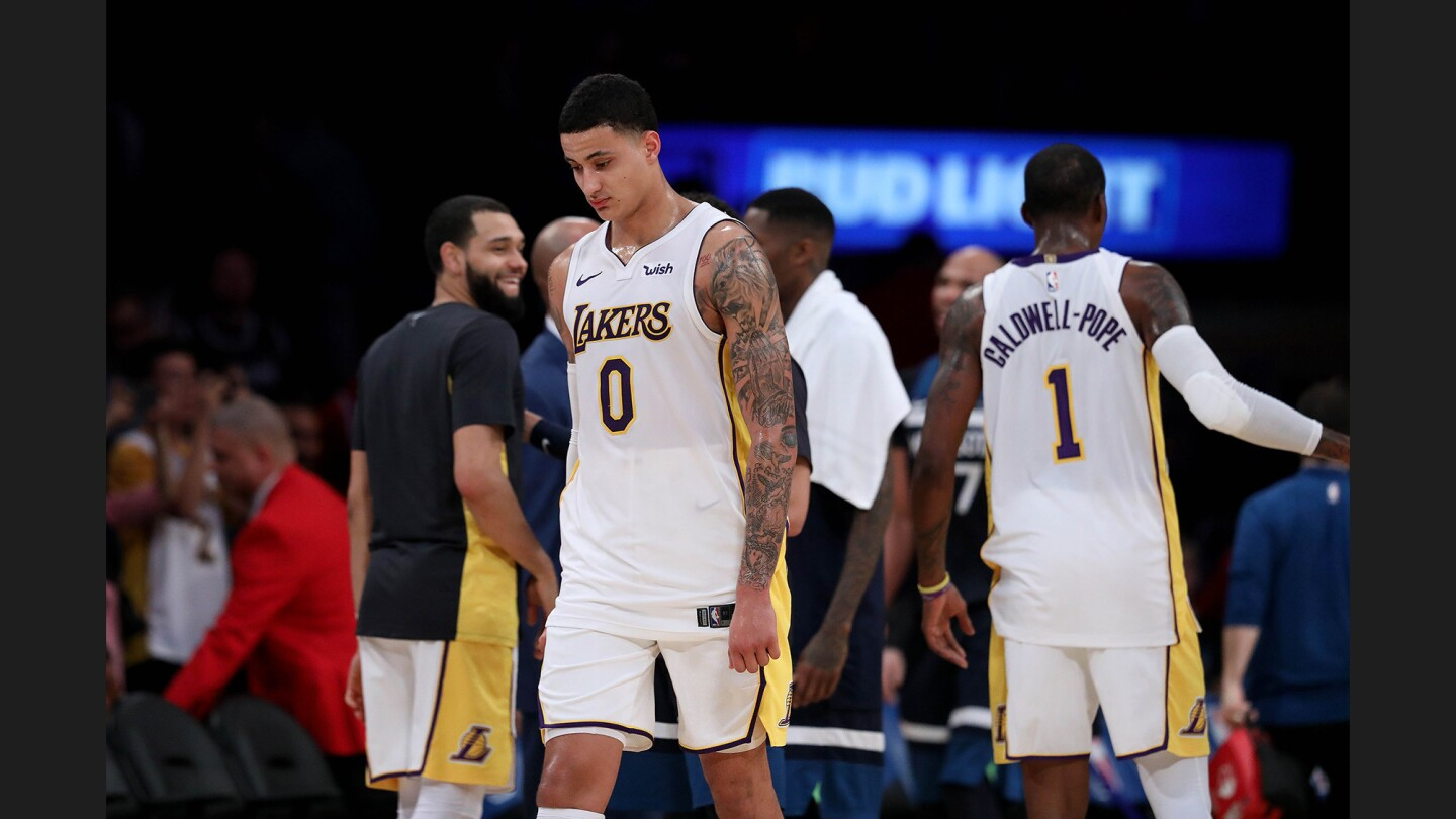 Lakers forward Kyle Kuzma had a game-high 31 points but it wasn't enough as the Timberwolves pulled away for a 121-104 victory.