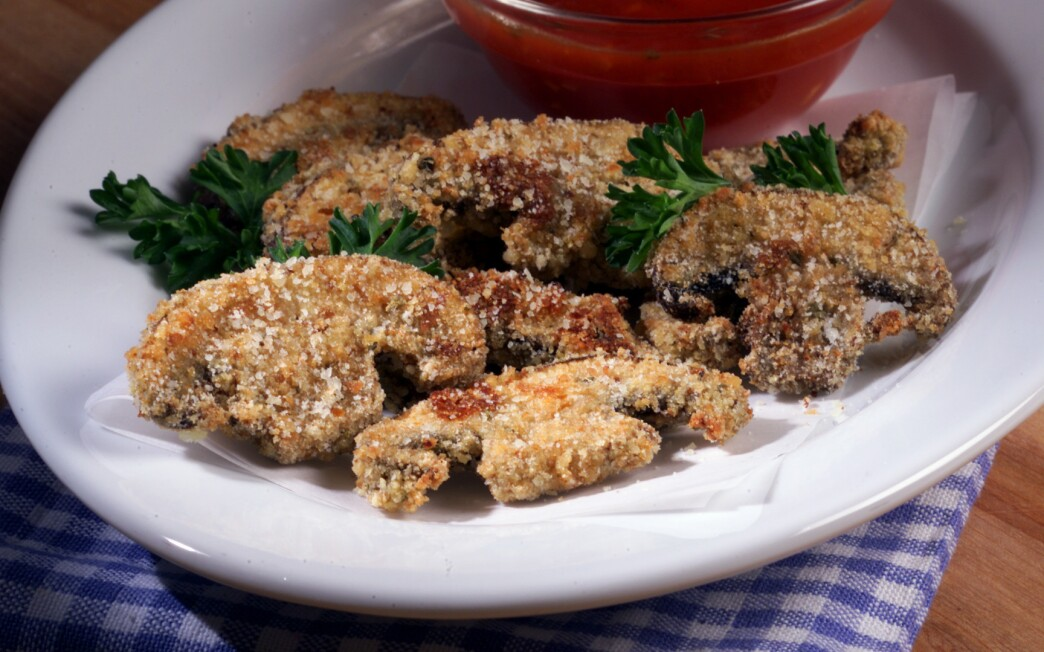 Roasted portabello mushrooms with red sauce