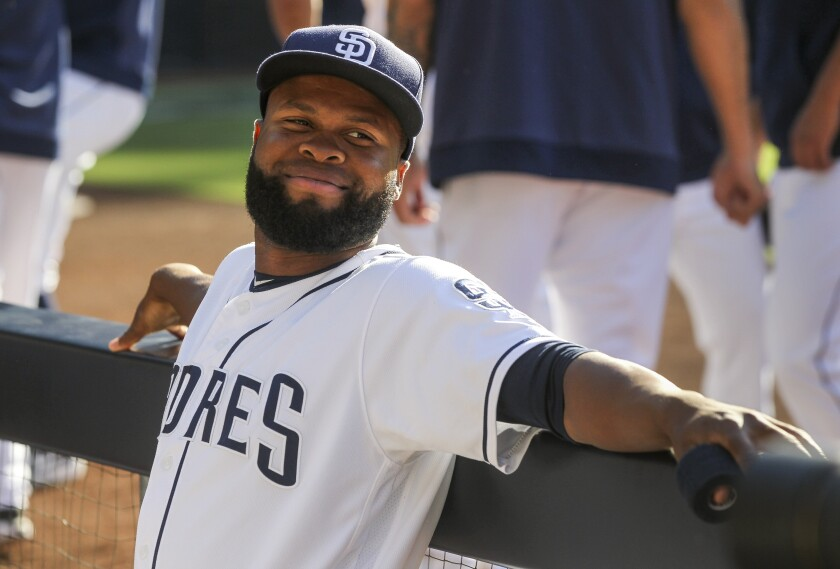 The Padres' Manuel Margot in the dugout before the Padres play the Giants at Petco Park on Saturday, July 27, 2019 in San Diego, California.