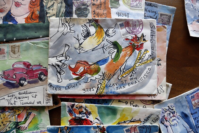 A few of the hundreds of cartoons crafted by artist Clayton Lewis on envelopes that accompanied letters he mailed to friends, family and his mother living in Washington.