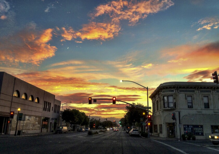 Old Town Lompoc at sunset time.