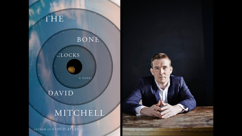 """The cover of """"The Bone Clocks"""" and author David Mitchell."""