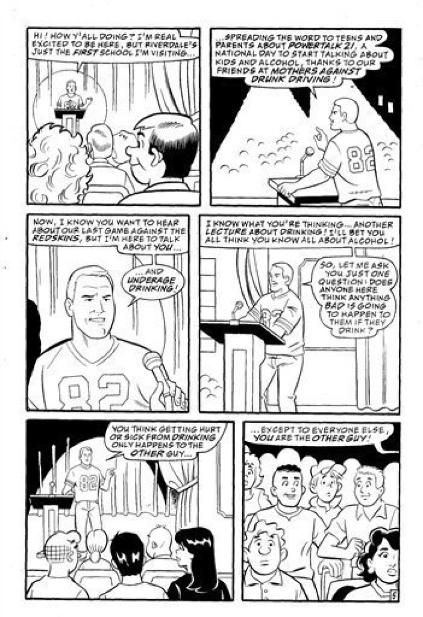"In this comic book page released by Archie Comics, an animated depiction of Dallas Cowboys TE Jason Witten appears in the ""Archie Double Digest"" N. 217 in a story that, in conjunction with the N.F.L. and Mothers Against Drunk Driving aims to educate readers about alcohol. The comic will be available on March 23. (AP Photo/Archie Comics)"