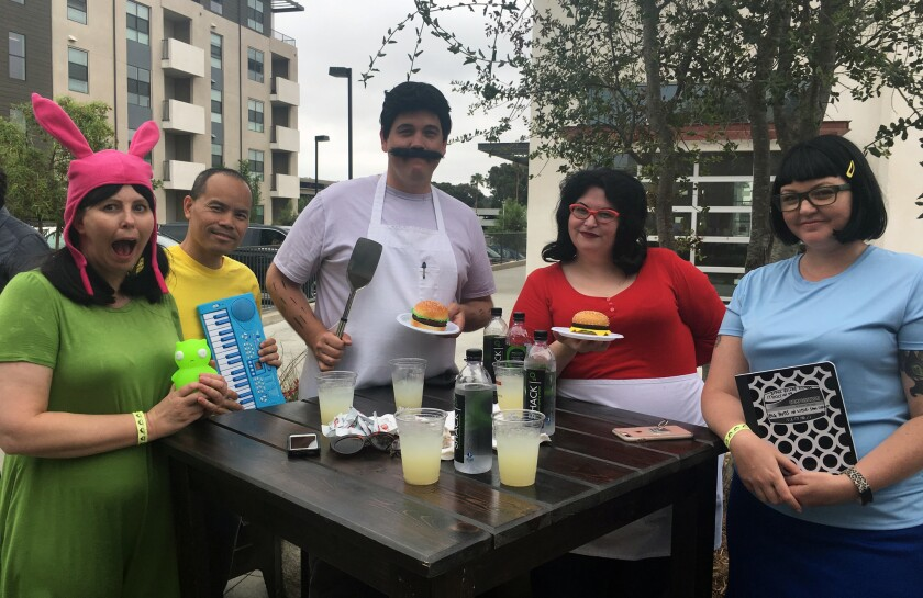 Bob's Burgers cosplayers traveled from Comic-Con to Mission Valley to eat and meet the show's cast.