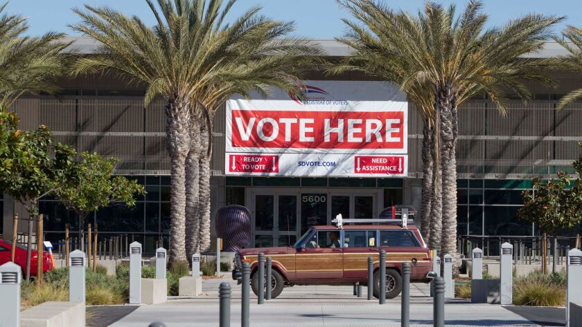 SAN DIEGO_CA.-OCT 10, 2016: |The first day of voting in San Diego County saw several people coming