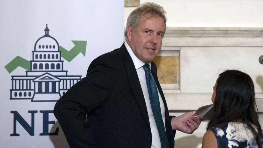 FILE - In this Friday, Oct. 20, 2017, file photo, British Ambassador Kim Darroch hosts a National Ec