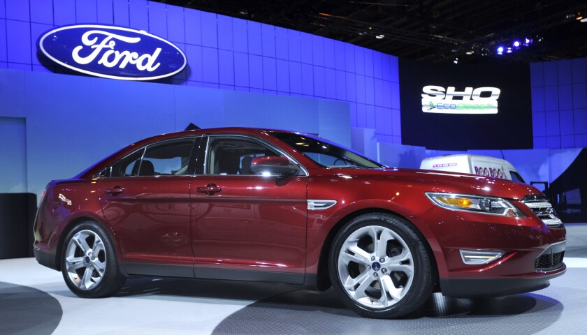2010 Ford Taurus SHO at the Chicago Auto Show Wednesday, Feb. 11, 2009. (AP Photo/Paul Beaty)