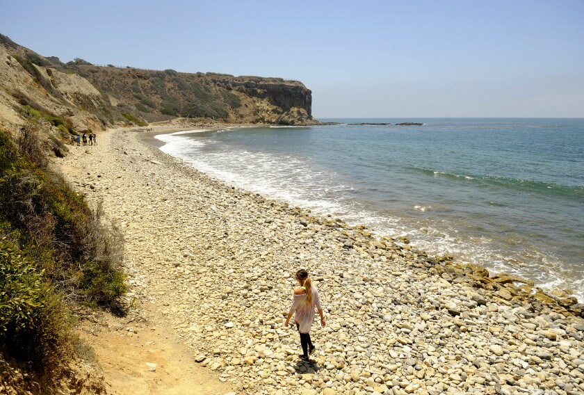 A woman walks along the rocky stretch of beach heading to the tidepools at Abalone Cove.