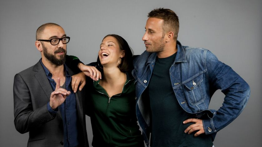 """Director Michaël R. Roskam, actress Adèle Exarchopoulos and actor Matthias Schoenaerts from the film """"Racer and the Jailbird."""""""