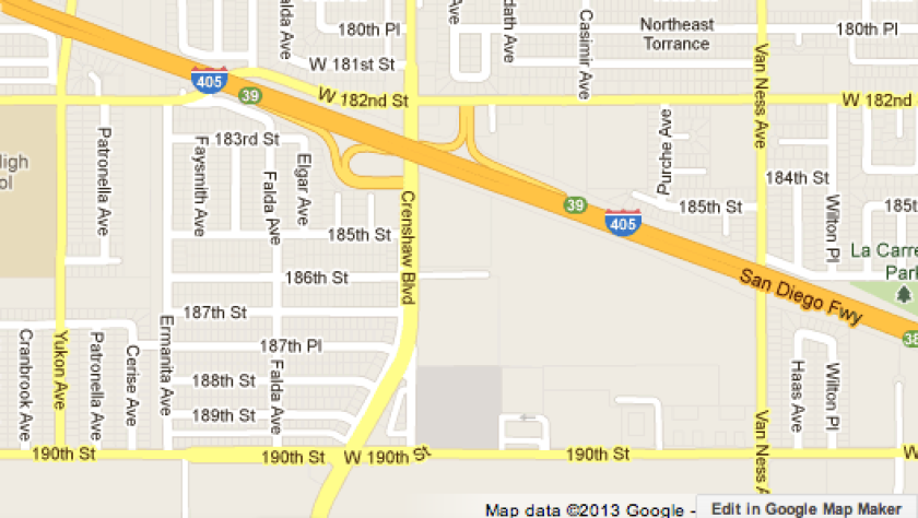Map shows location where a six-car crash snarled traffic on the 405 Freeway.