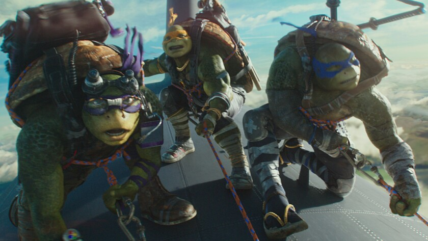 "Leonardo, Michelangelo and Donatello in the movie ""Teenage Mutant Ninja Turtles: Out of the Shadows."""