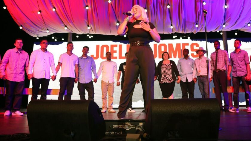 """Singer-songwriter Joelle James is in contention for two Grammy Awards — as co-writer of the hit """"Boo'd Up"""" recorded by British singer Ella Mai, and for overall song and R&B song of the year. Above: James performing in L.A. in 2017."""