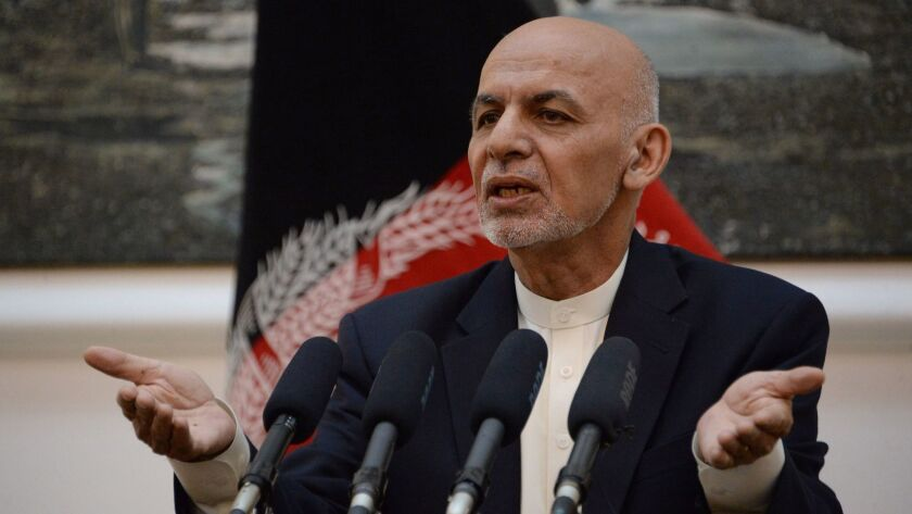 Afghan President Ashraf Ghani speaks during a news conference at the Presidential Palace in Kabul on June 30.