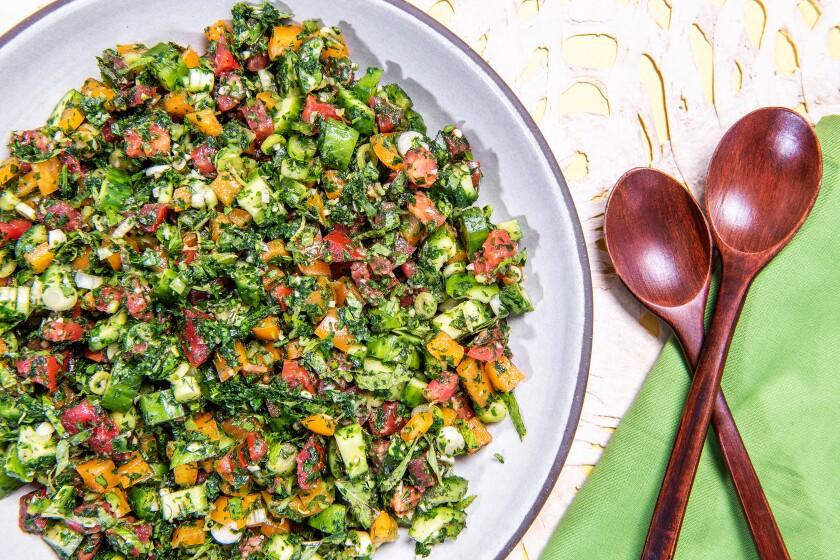 "Salata Arabieh, a chopped salad from ""Falastin"" by Sami Tamimi and Tara Wigley."