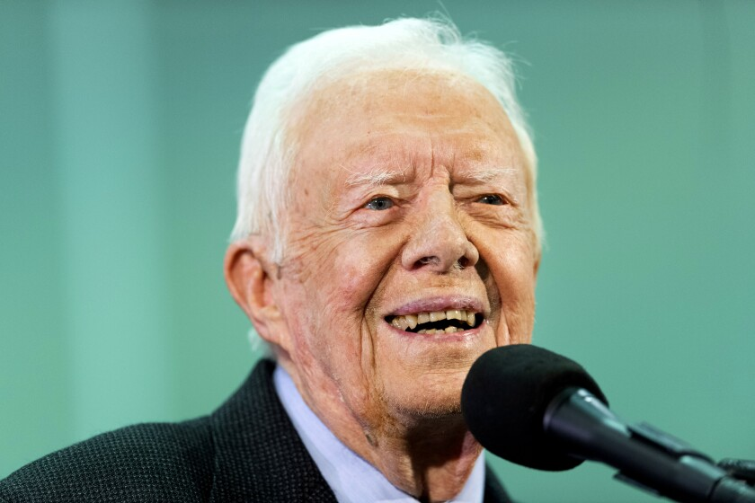 Former President Jimmy Carter listens to a question submitted by a student during an annual Carter Town Hall held at Emory University in Atlanta in September. (AP Photo/John Amis, File)