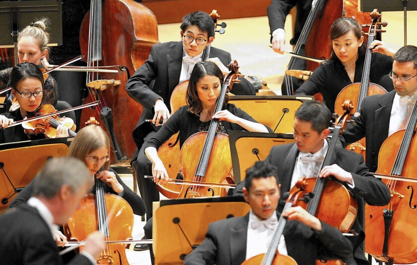 Members of the St. Louis Symphony play Gustav Mahler's Symphony No.5 at the Soka Performing Arts Center on Wednesday.