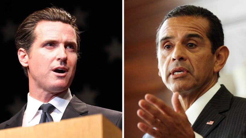 Gavin Newsom, left, and Antonio Villaraigosa are vying to be California's next governor.