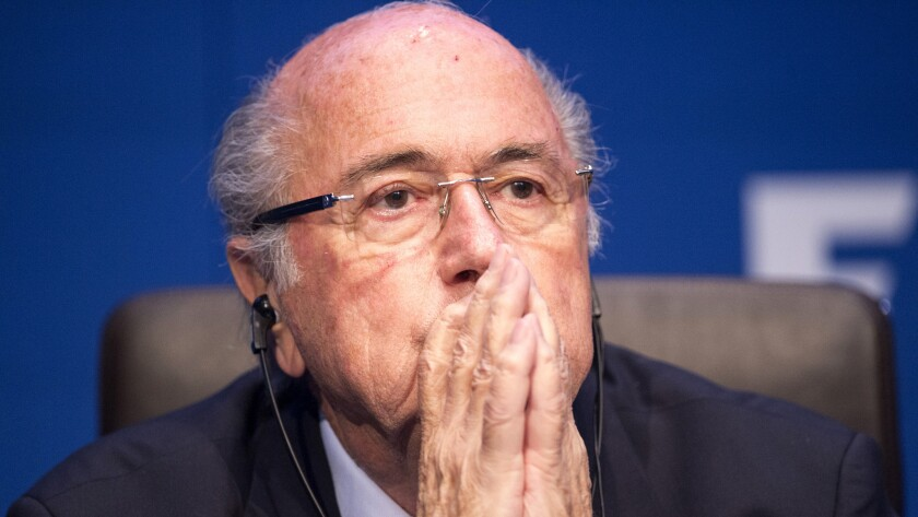 FIFA President Sepp Blatter listens during a news conference in Zurich on May 30, 2015.