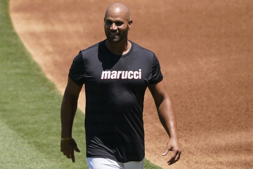 Angels first baseman Albert Pujols during a practice at Angel Stadium on July 6, 2020.