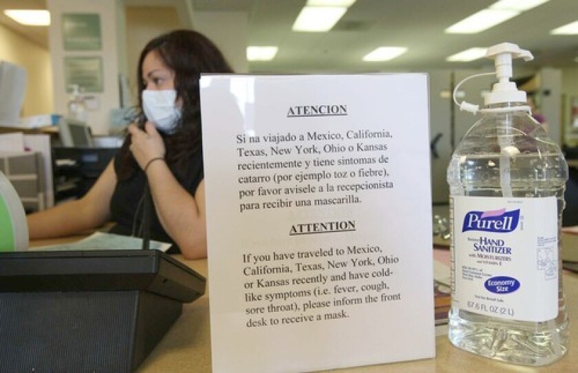 Sign in Chicago hospital during 2009 H1N1 flu outbreak