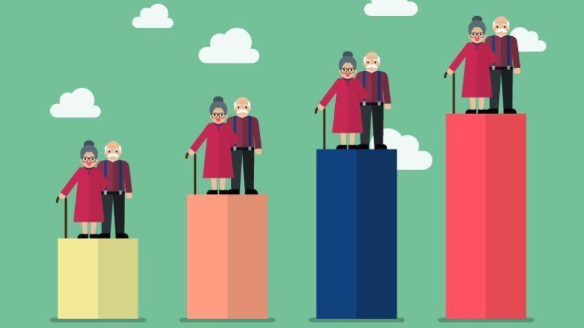 Aging population. Vector illustration