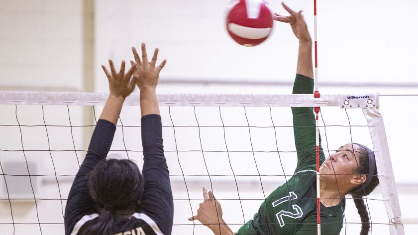 Costa Mesa's Malia Tufuga hits against Artesia's defender Tiffany Ramos during a tournament in Santa