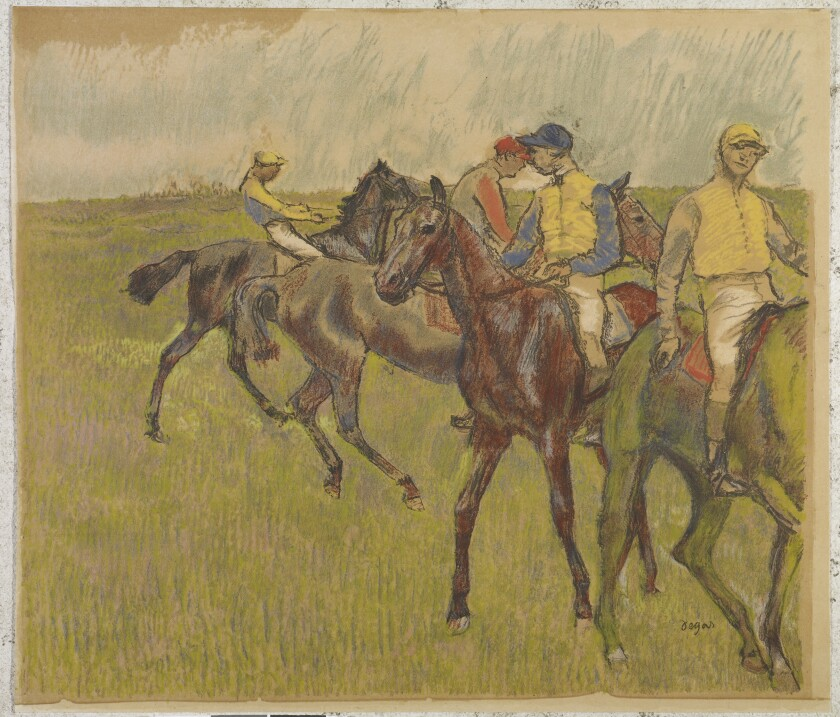 """August Clot Before the Race"" (1895, color lithograph) by Edgar Degas"